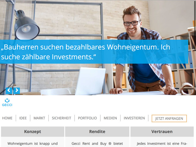 Startseite der neuen Immobilien-Investment GECCI Rent and Buy Website in TYPO3 und Responsive Webdesign für Investoren