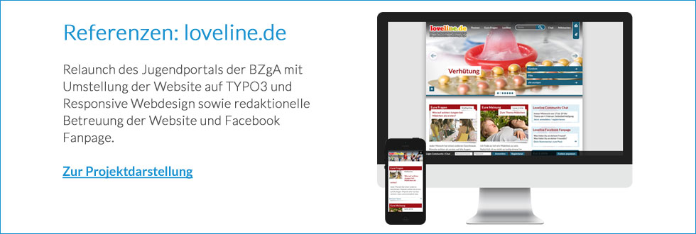 Relaunch des BZgA Jugendportals loveline.de auf Basis des TYPO3 Content Management Systems